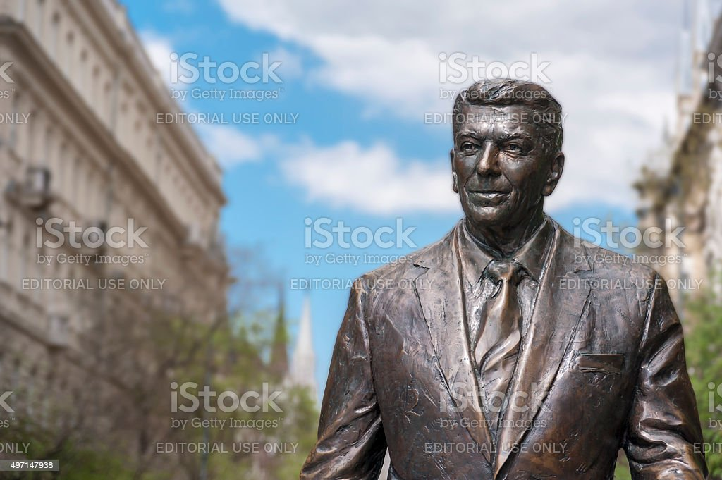 Statue of the former U.S. President Ronald Reagan stock photo