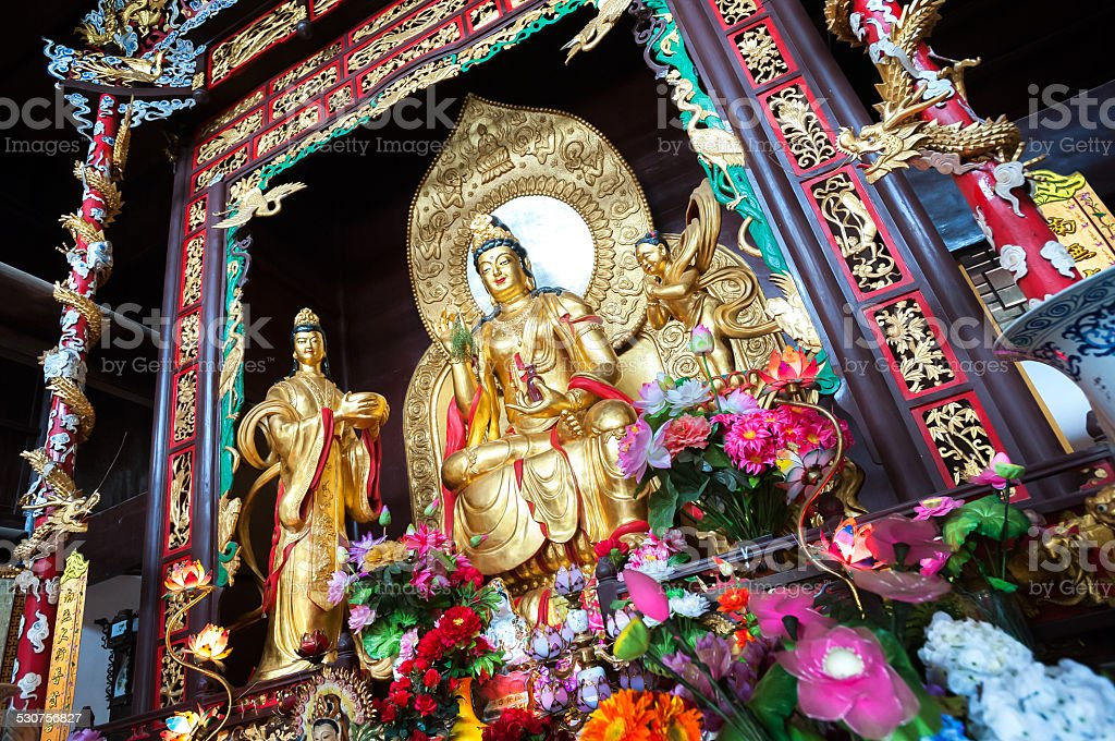 Statue of the Goddess of Mercy, at Lushan Temple, Changsha stock photo