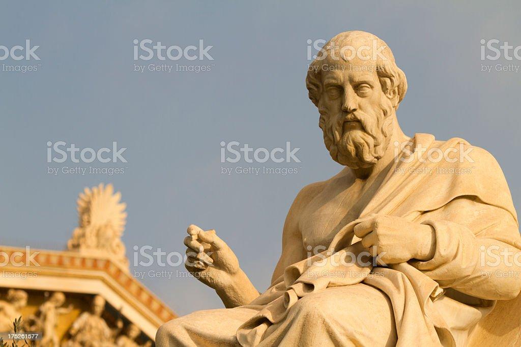 Statue of the Greek philosopher, Plato stock photo