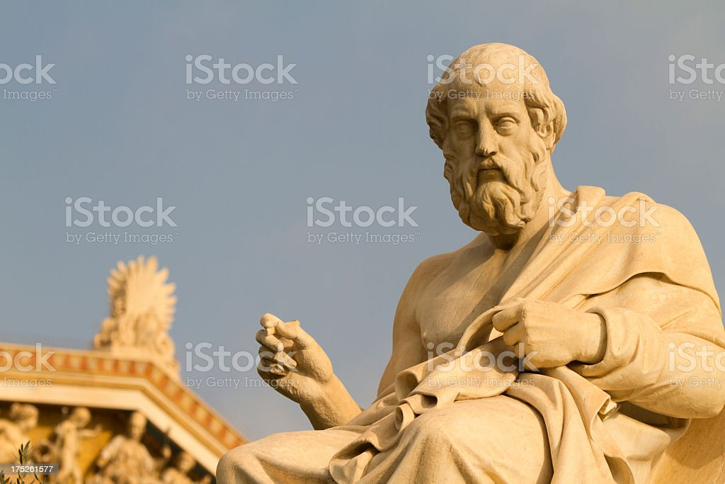 Statue of the Greek philosopher, Plato stock photo