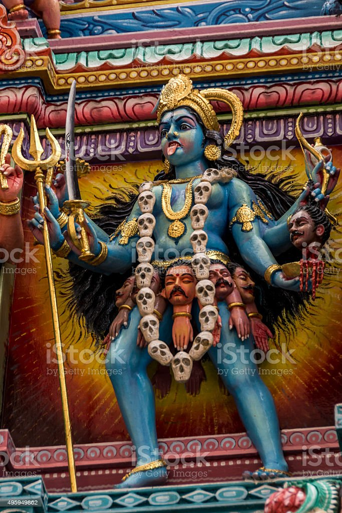 Statue of the hindu god, Kali stock photo
