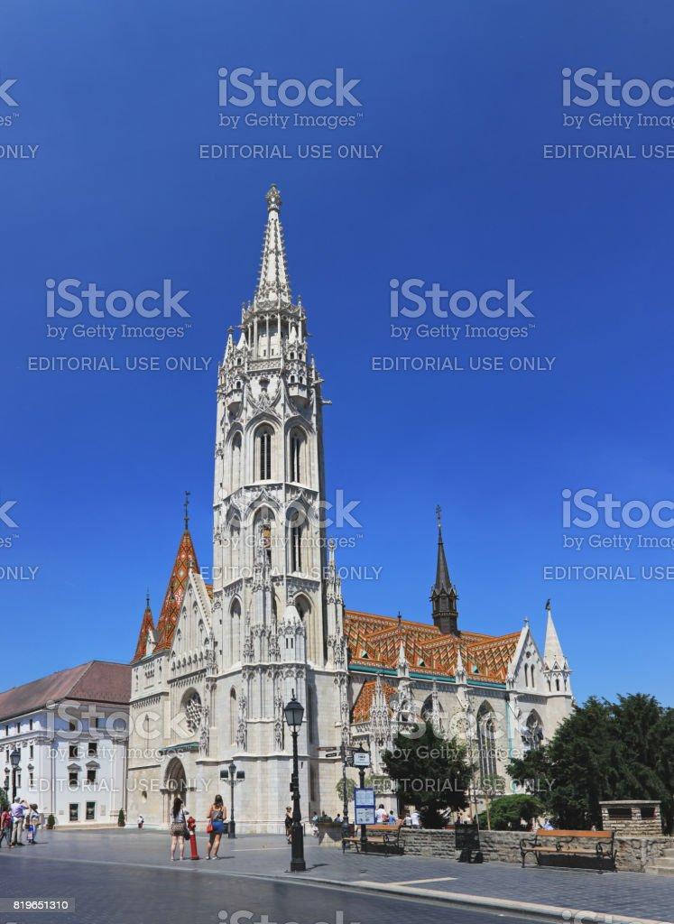 Statue of the Holy Trinity and Matthias Church, Statue of the Holy Trinity and Matthias Church on Castle Hill, Buda, Budapest, Hungary stock photo