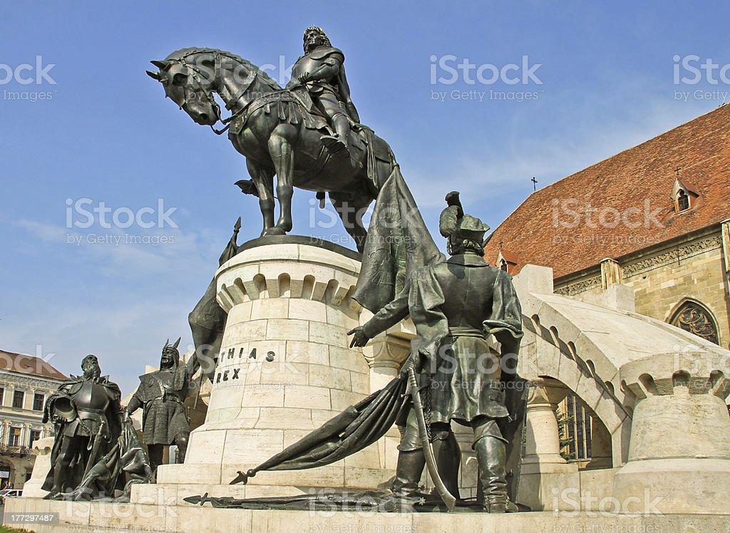 Statue of the king Matthias Corvinus stock photo