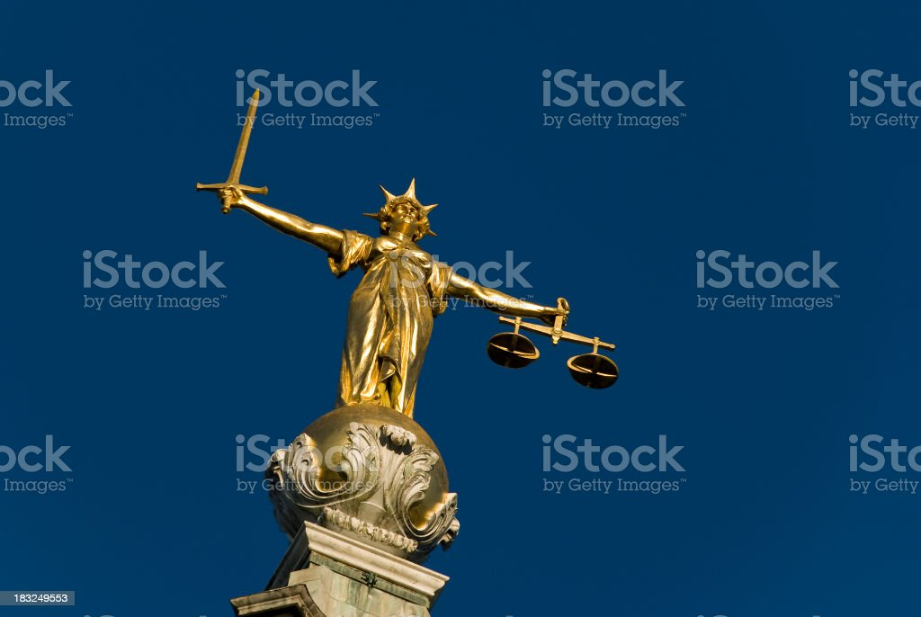 Statue of the lady justice at the Old Bailey in London stock photo