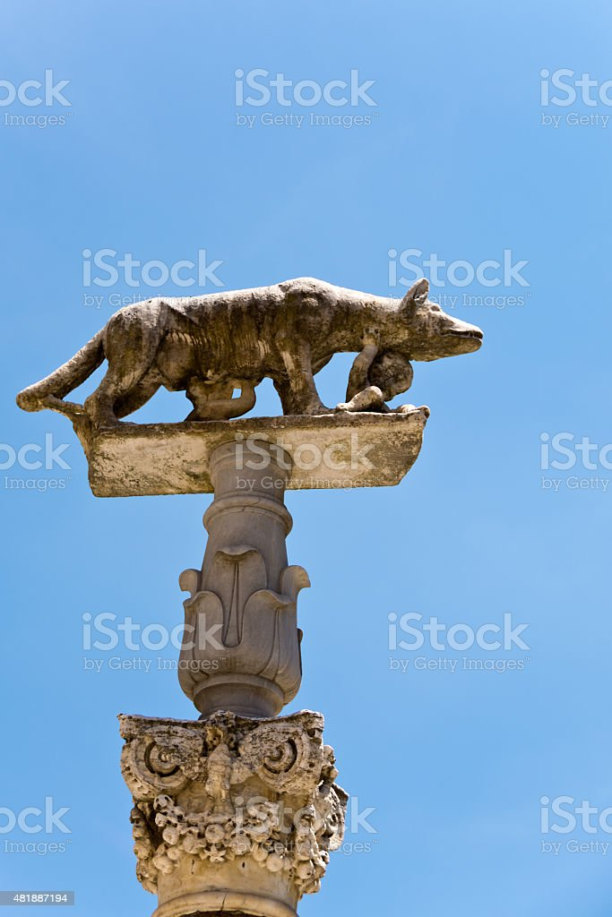 Statue of the legendary wolf with Romolo and Remo stock photo