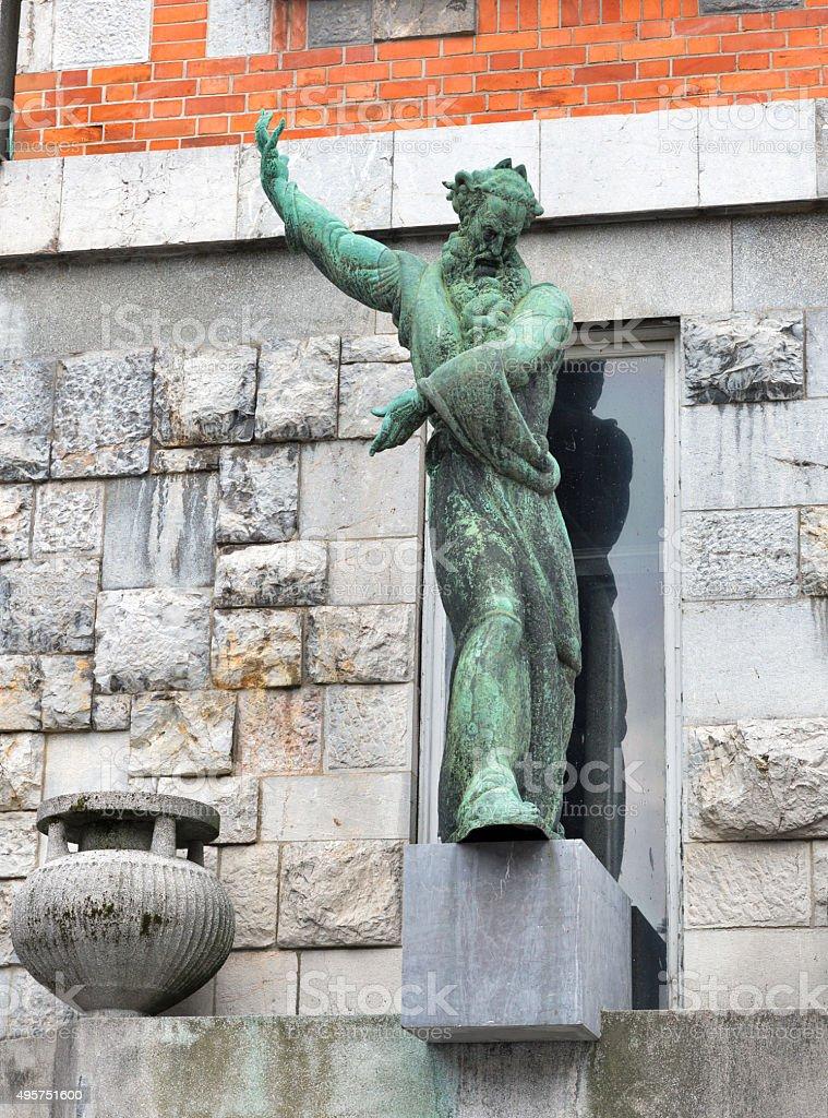 Statue of the National Library, Ljubljana stock photo