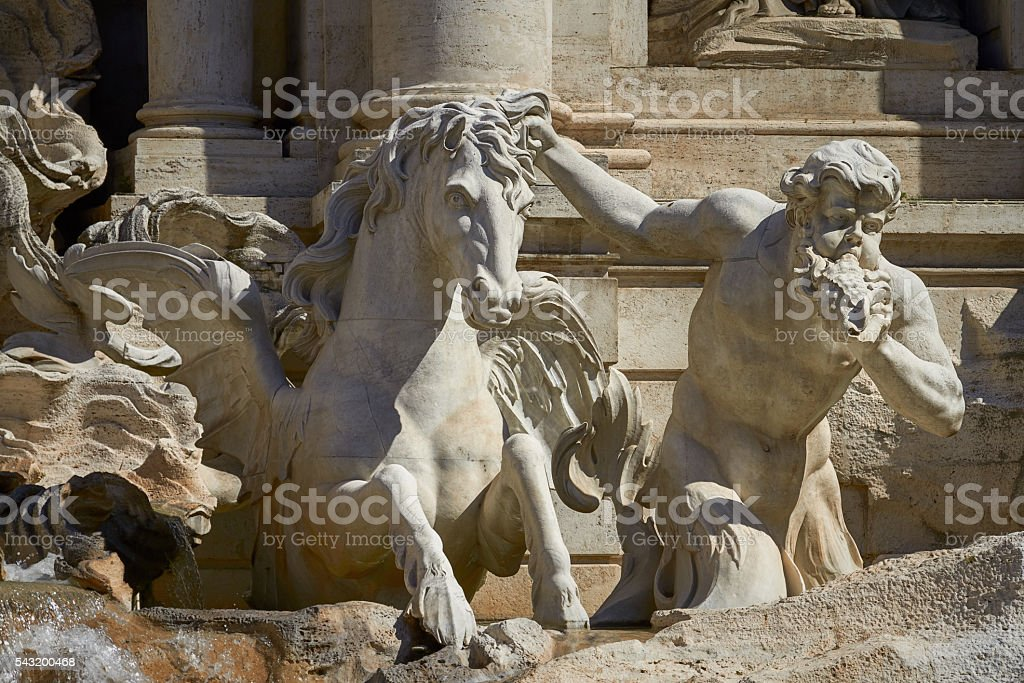 Statue of the Trevi Fountain in Rome Italy stock photo
