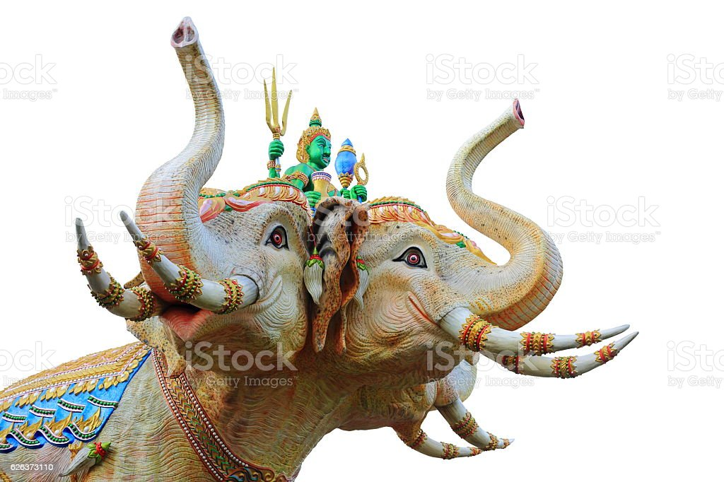 Statue of The Tri-Head Elephants isolated on white background. stock photo