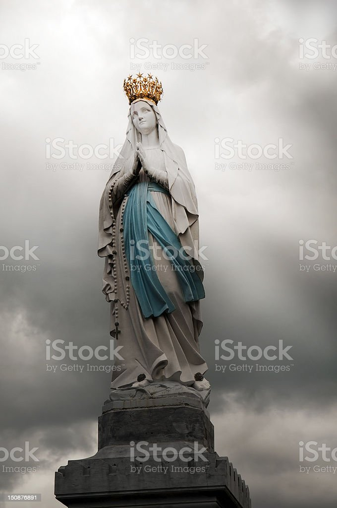 statue of the Virgin Mary in Lourdes , France royalty-free stock photo