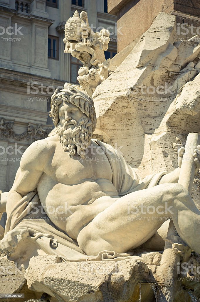 Statue of the Zeus in Bernini's Fountain, Rome stock photo