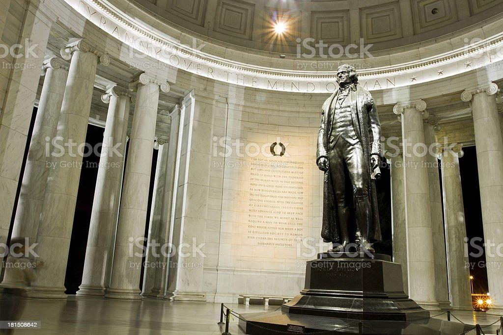 Statue of Thomas Jefferson inside memorial in Washington DC stock photo