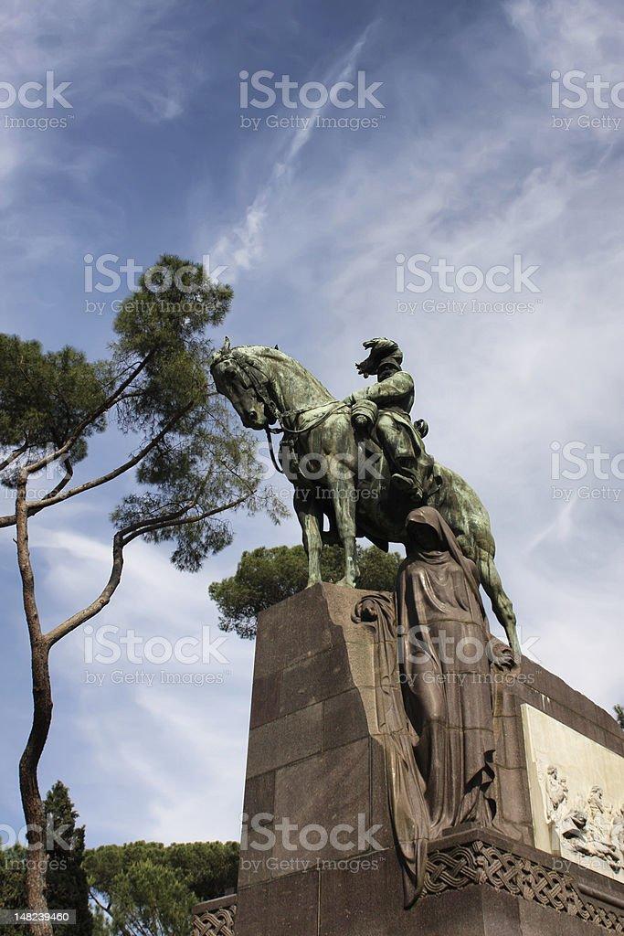 Statue of Umberto II in Villa Borghese, Rome stock photo