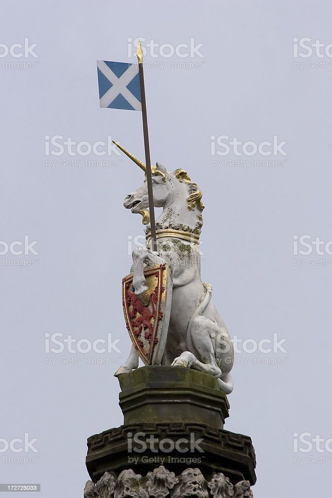 Statue of unicorn with Scotland flag royalty-free stock photo