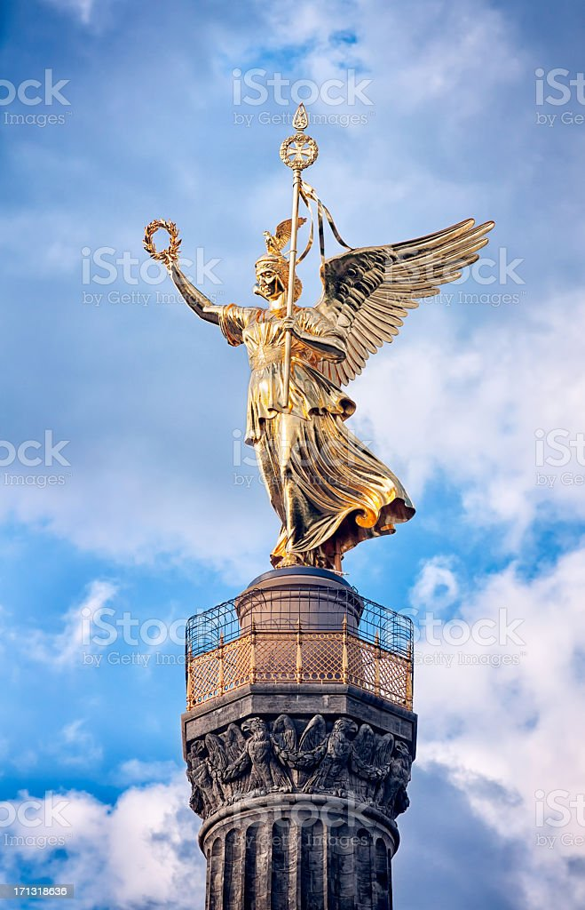 Statue of Victoria, Siegessaule Tiergarten Berlin stock photo