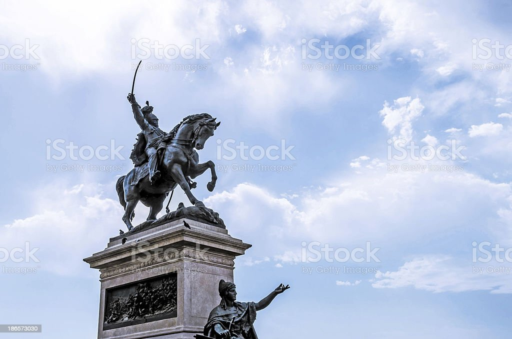 Statue of Viktor Emanuel II stock photo