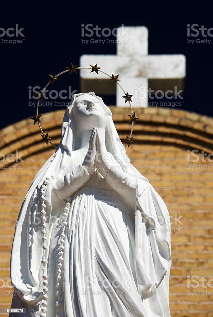 Statue of Virgin Mary, Mesilla Village, New Mexico stock photo