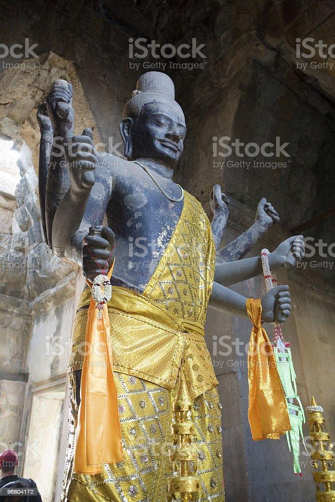 Statue of Vishnu in Angkor Wat, Cambodia royalty-free stock photo
