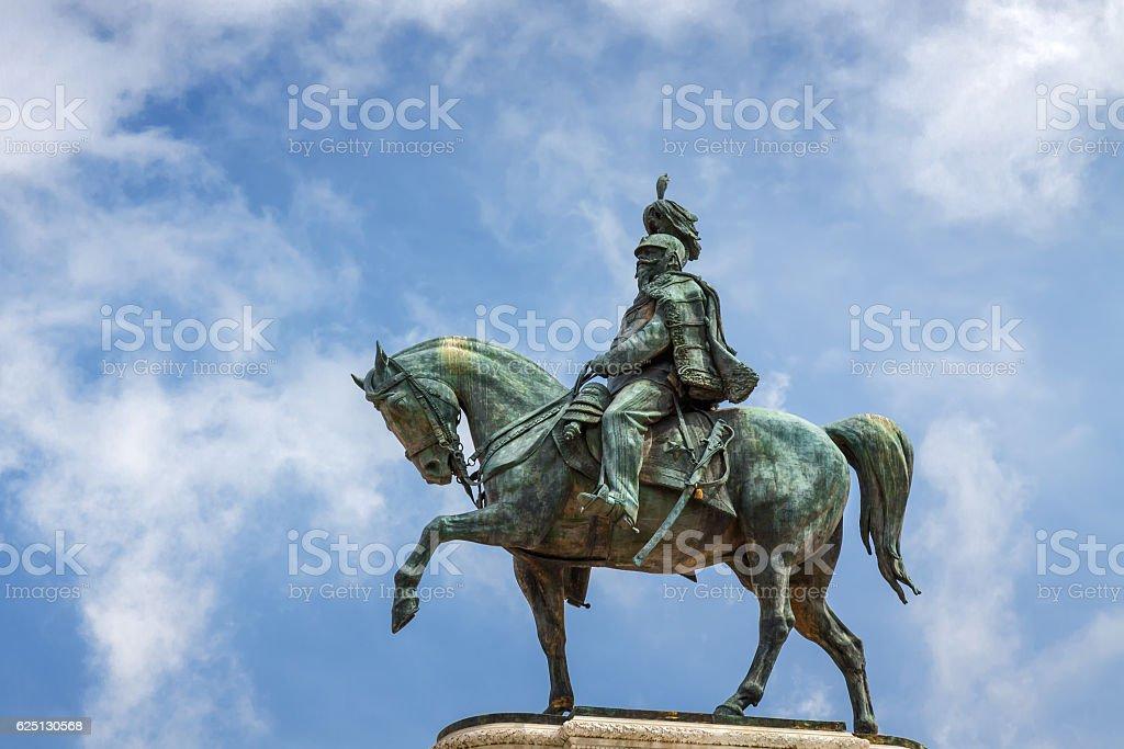 Statue of Vittoriano palace in Rome, Lazio region, Italy. stock photo
