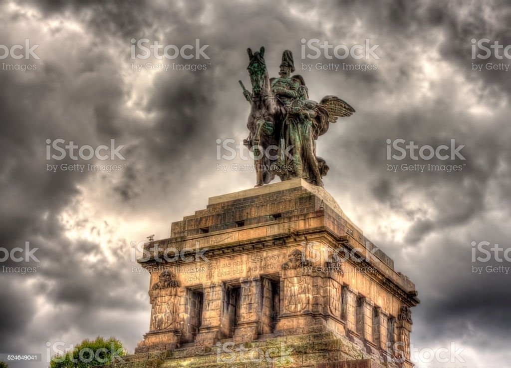 Statue of William I in Koblenz, Germany stock photo