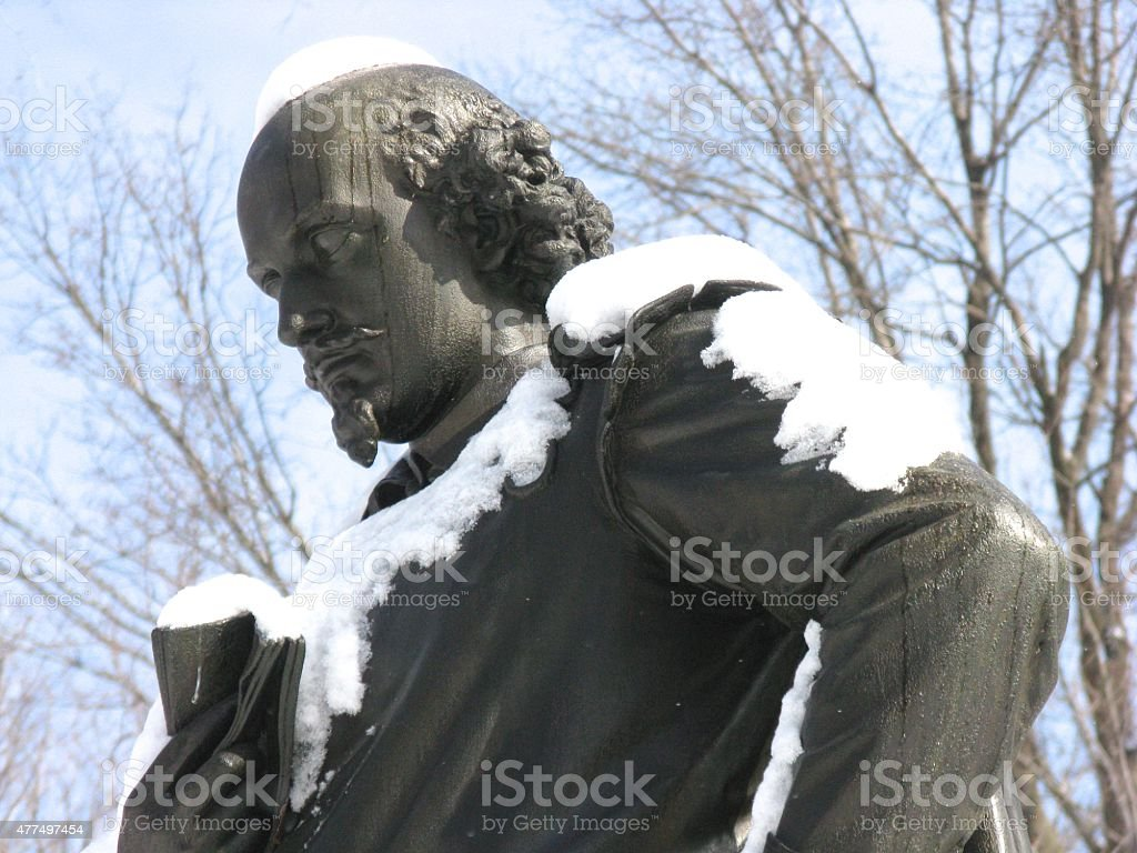 Statue of William Shakespeare in Central Park, New York City stock photo