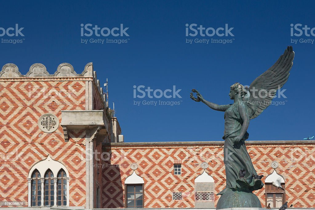 Statue of Winged Goddess (Nike) of Victory in Rhodes, Greece stock photo