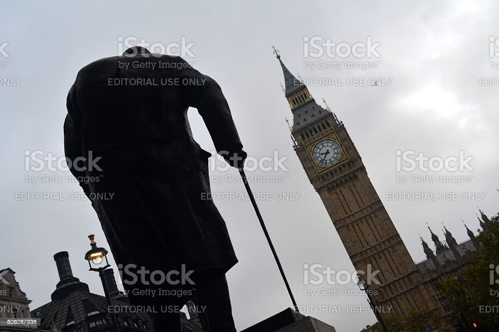 Statue of Winston Churchill and the Big Ben, London stock photo