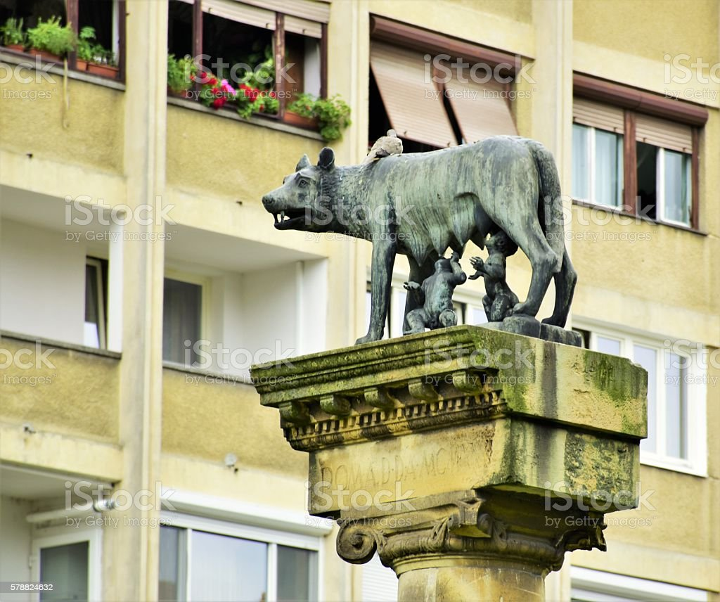 Statue of wolf, Romulus and Remus in center of Timisoara stock photo