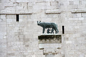 statue of wolf with Remus and Romulus in Aquileia Italy