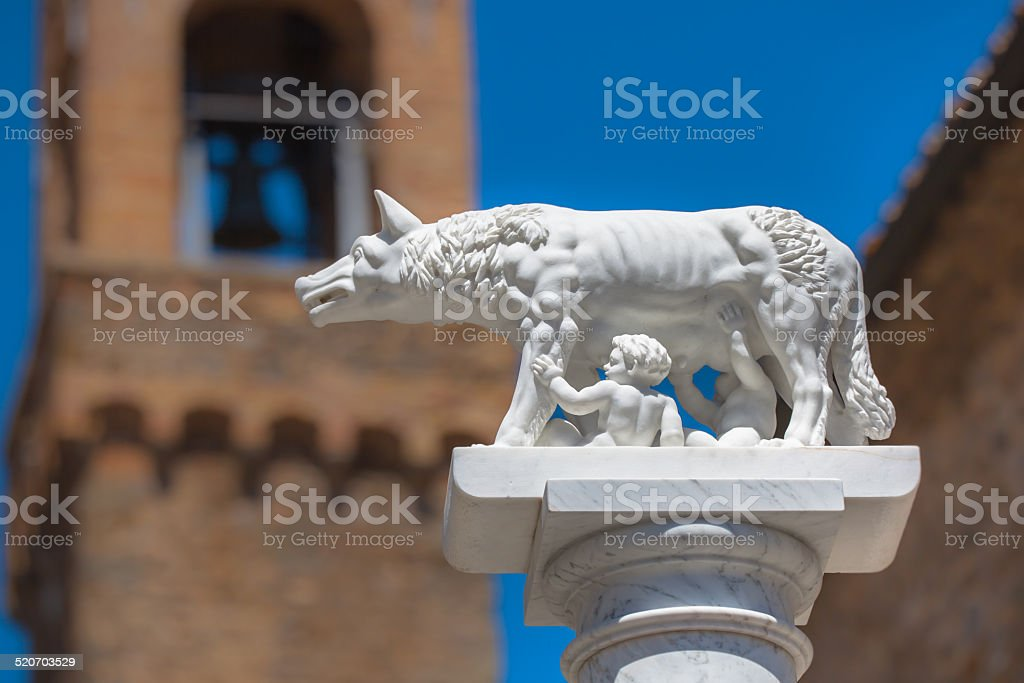 Statue of Wolf With Romulus and Remus in Rome, Italy stock photo
