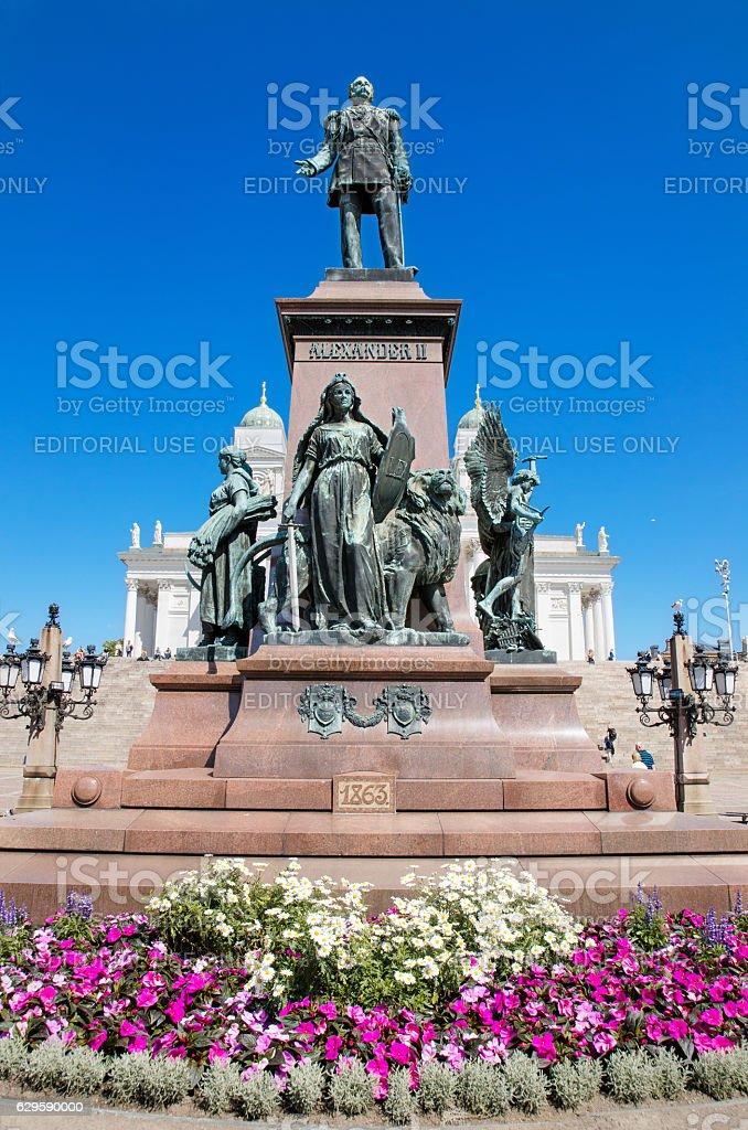 Statue of zar Alexander II in Helsinki, Finland. stock photo