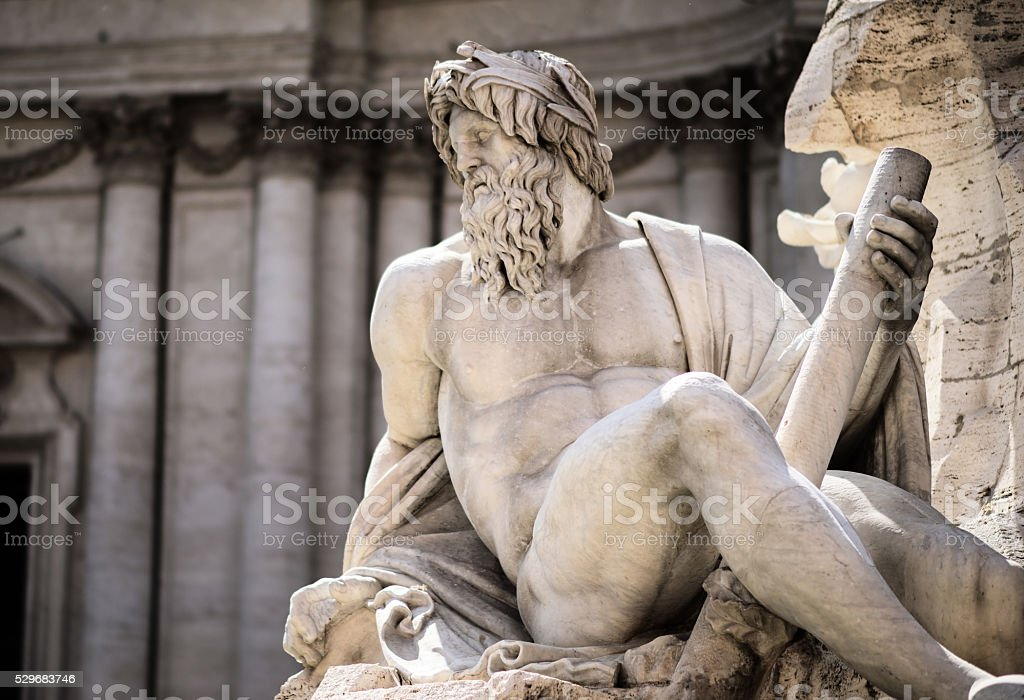 Statue of Zeus in Fountain, Piazza Navona, Rome, Italy stock photo