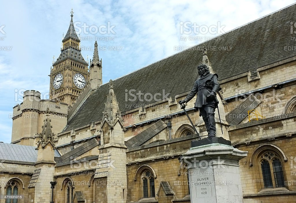 Statue, Oliver Cromwell outside Houses of Parliament, Westminster, London stock photo
