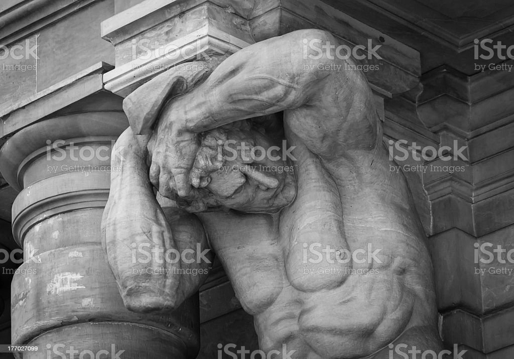 Statue on building facade royalty-free stock photo