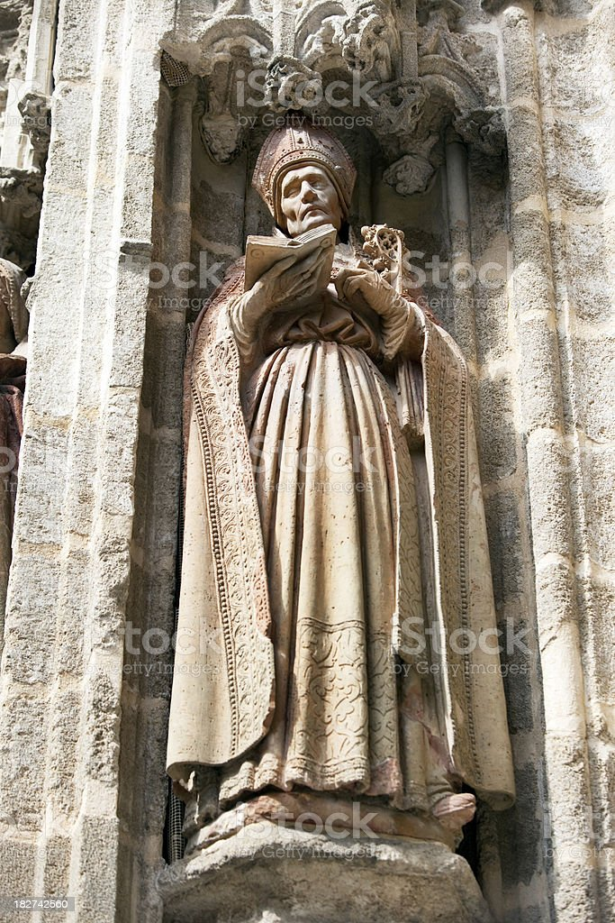 Statue on Facade of Seville Cathedral Spain royalty-free stock photo
