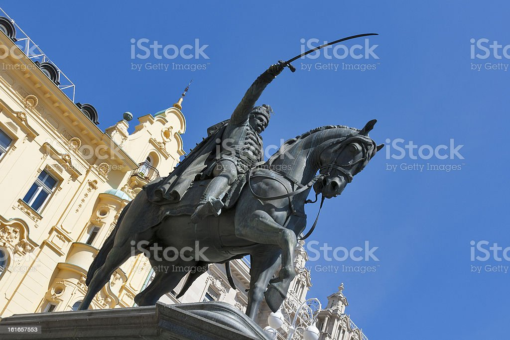 Statue on main square in Zagreb, Croatia royalty-free stock photo