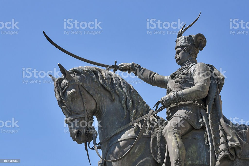 Statue on main square in Zagreb, Croatia royalty-free stock photo