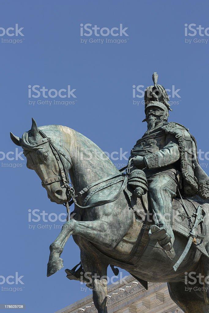 Statue on Monumento a Vittorio Emanuele II in Piazza Venizia royalty-free stock photo