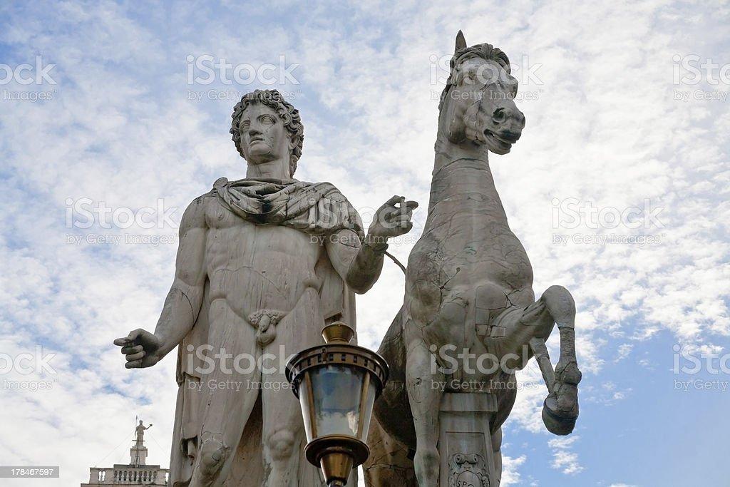 Statue on piazza del Campidoglio in Rome royalty-free stock photo