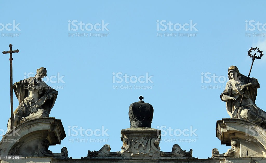 Statue on the cathedral Church in Lviv stock photo