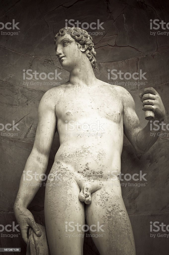 Statue on the facade of grotto by Buontalenti stock photo