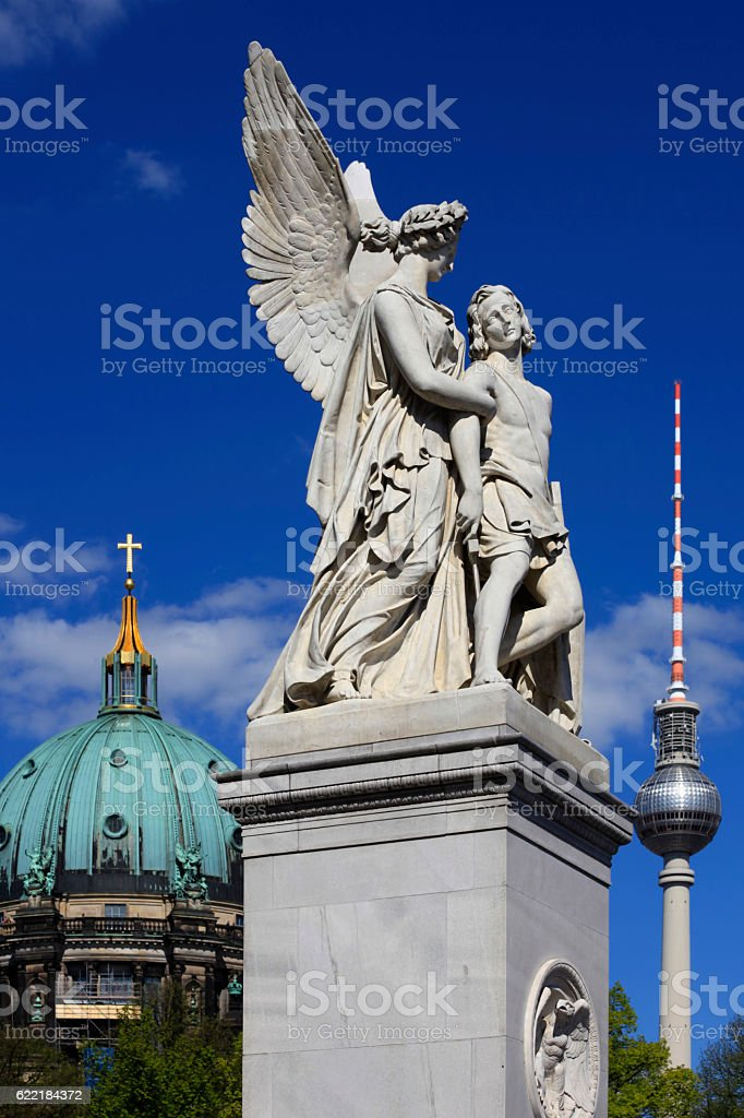 statue on the Palace Bridge, or Schlossbrucke, in Berlin stock photo