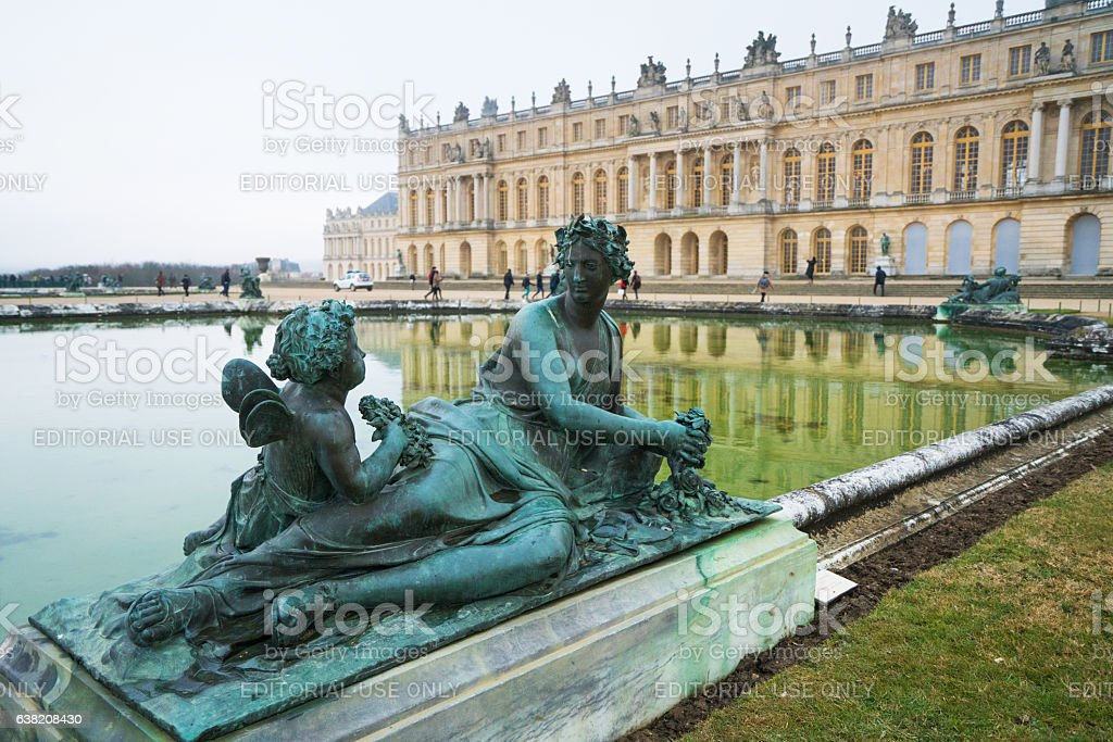 Statue on the Water Parterre Versailles stock photo