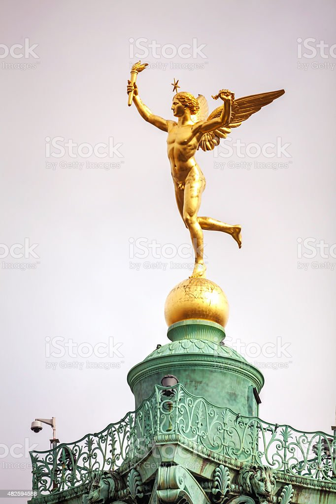 Statue on top of the July column in Paris, France stock photo