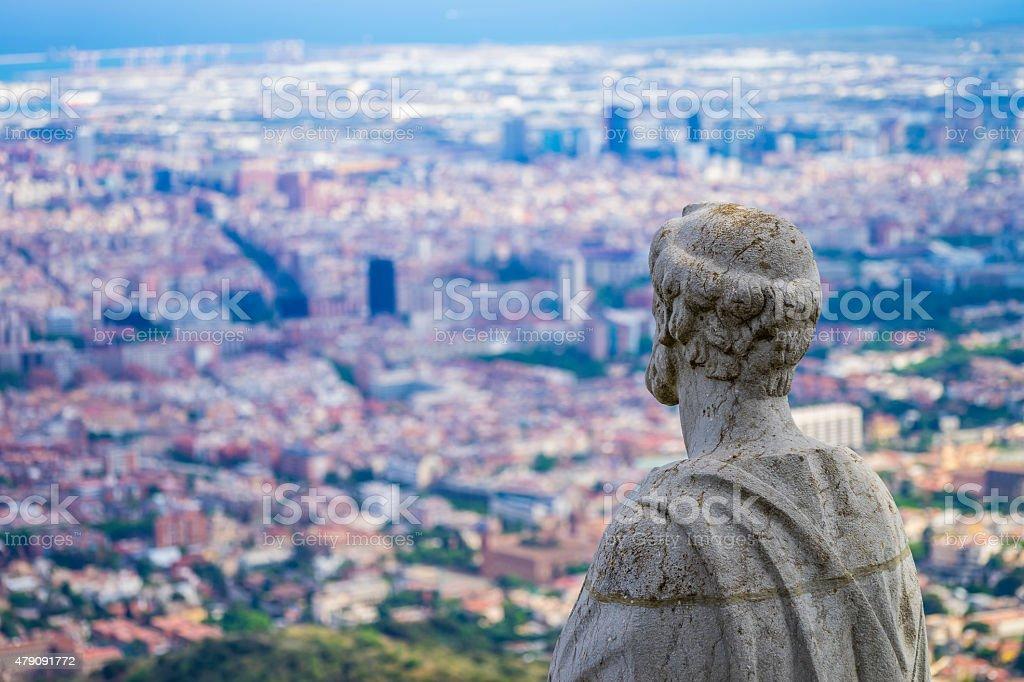 Statue over Barca stock photo