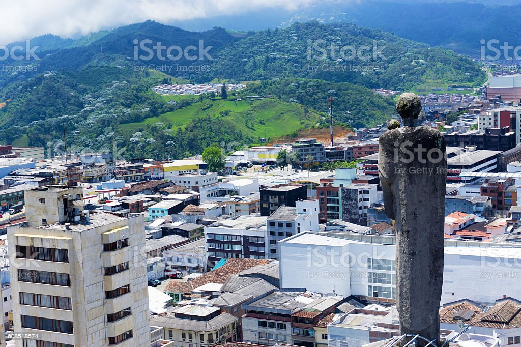 Statue Overlooking Manizales, Colombia stock photo