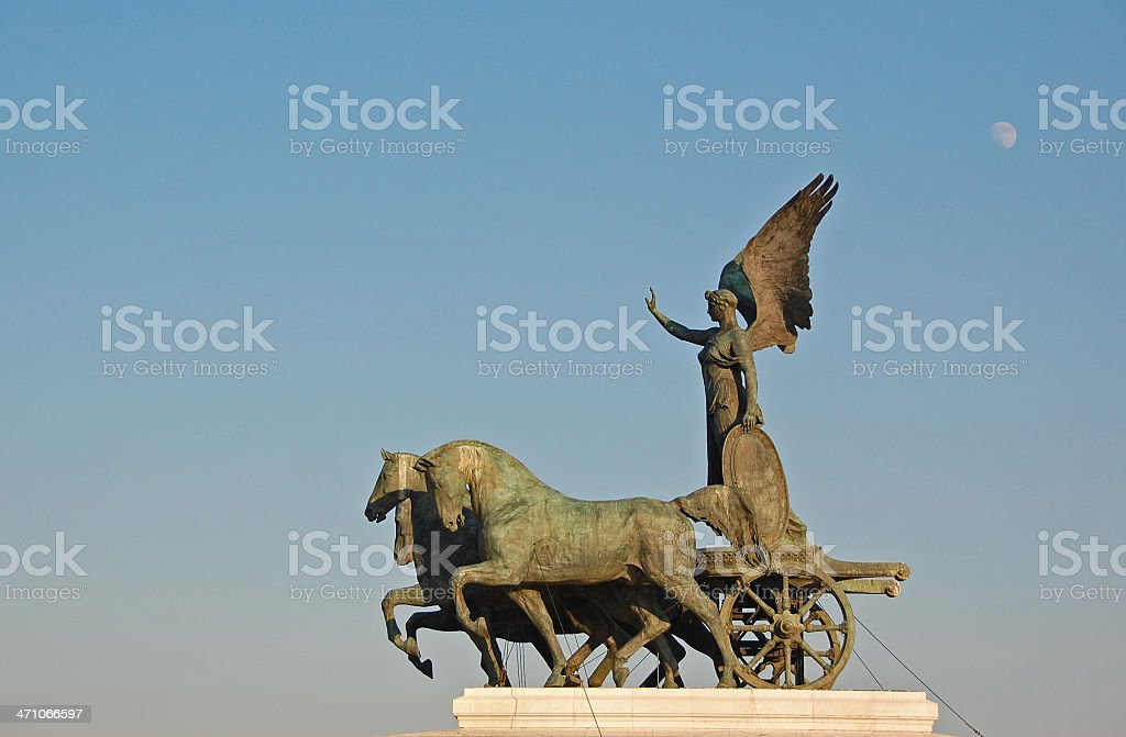 Statue overlookng Rome royalty-free stock photo