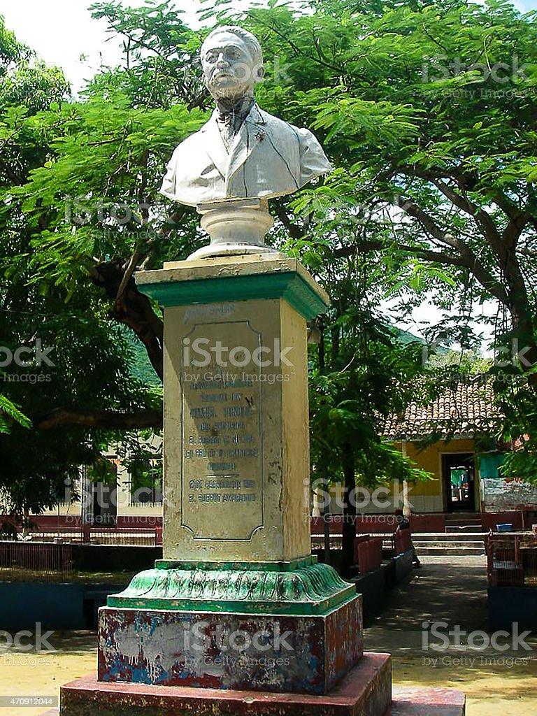 Statue Politician Pioneer Town Plaza Amapala Isla del Tigre Honduras stock photo