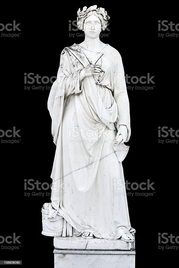 Statue showing a greek mythical muse stock photo