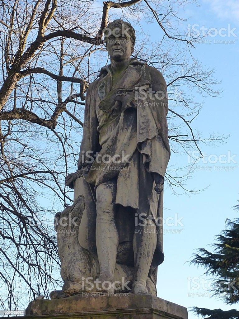 Statue Sir Walter Scott 1771-1832 in Perth Scotland stock photo