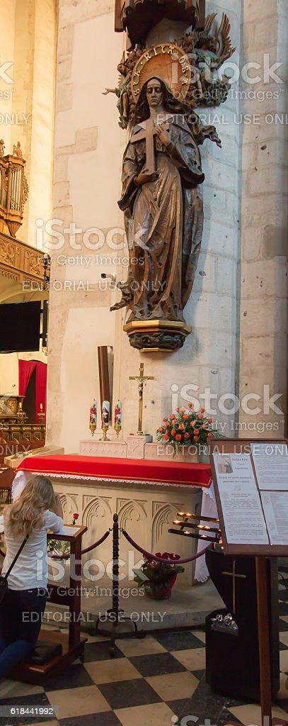 Statue  St. Rita in the church  st. Catarine in Krakow stock photo